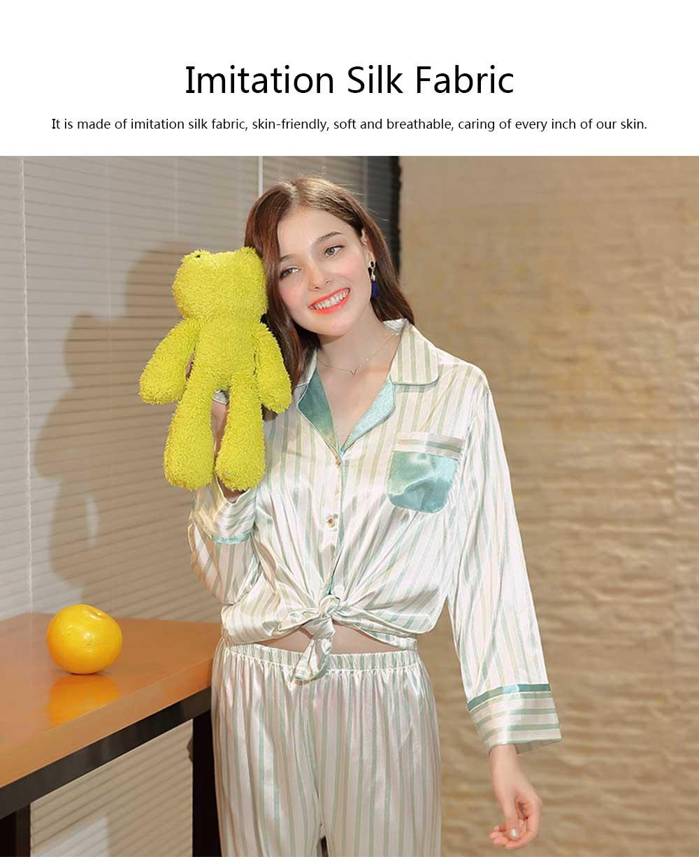 Imitation Silk Fabric Long-sleeved Pajamas set, Classic Lapel Fashion Casual Striped Tracksuit, Spring and Autumn 2019 4