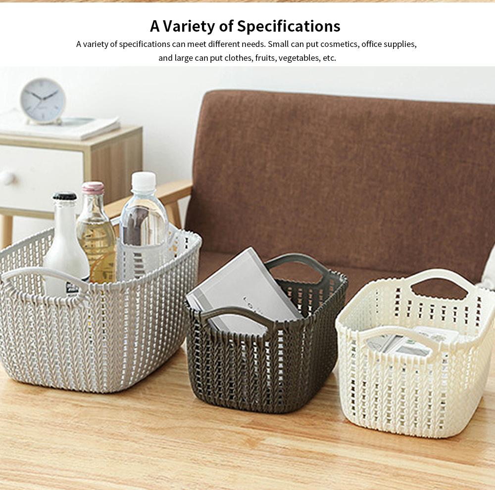 Plastic Coverless Rattan Storage Basket, Desktop Sundries Storage Box, Bathroom Cosmetics Storage Container 1