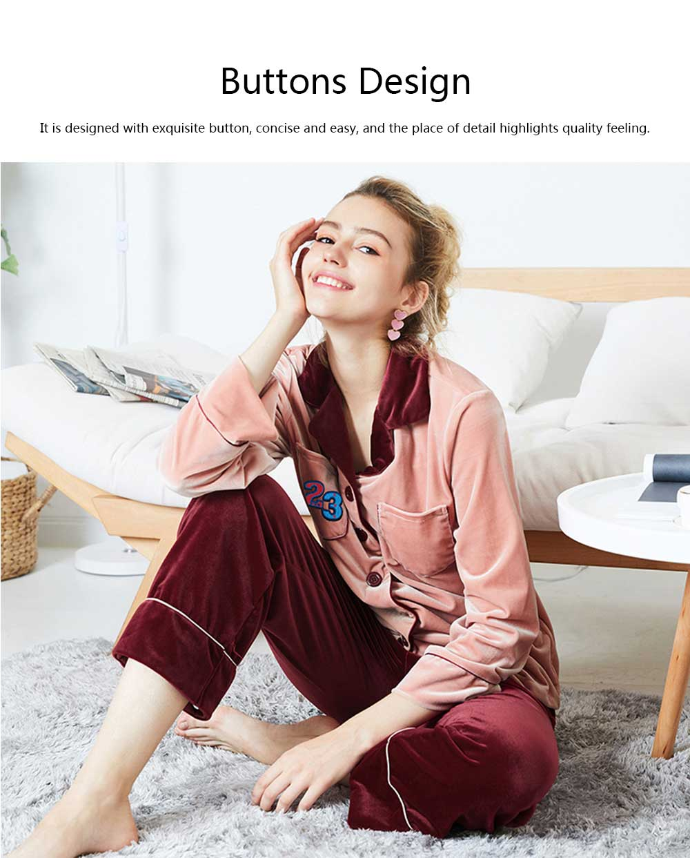 Warm and Comfortable Velvet Fabric Tracksuit, Ladies Contrast Color Stitching Cardigan Pajama, Autumn and Winter 2