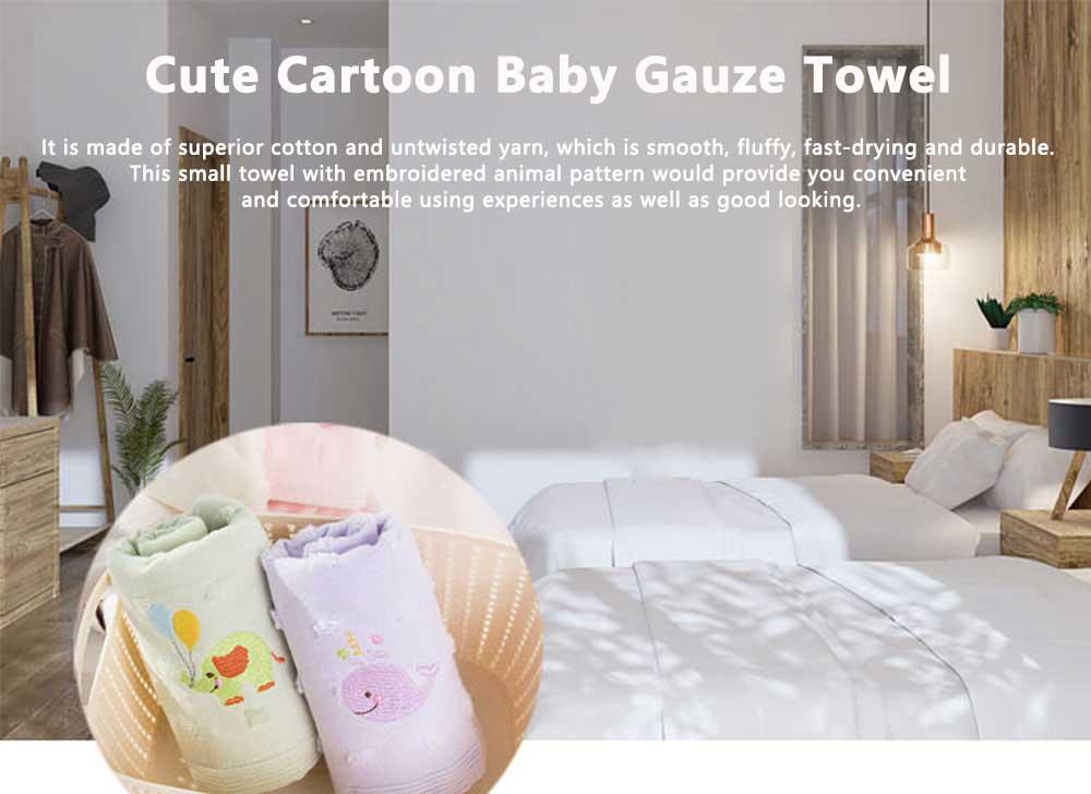 Cute Cartoon Baby Gauze Towel, Absorbent Cotton Baby Bath Towel, Soft Handkerchief Towel for infants, Face Washing Towel for Kids 0