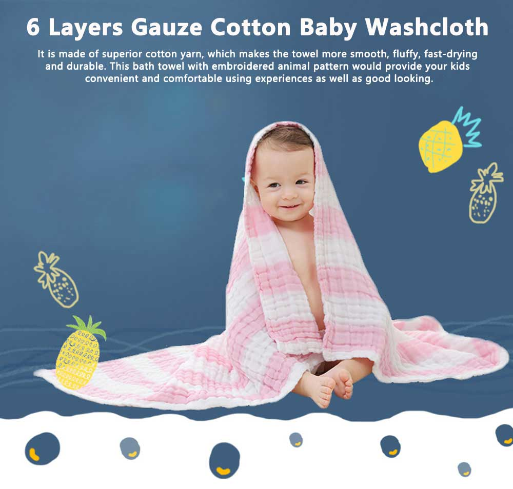 6 Layers Gauze Cotton Baby Bath Towel, Soft Smooth Baby Blanket Used in Summer, Sleeping Warp Blanket for Infants 0