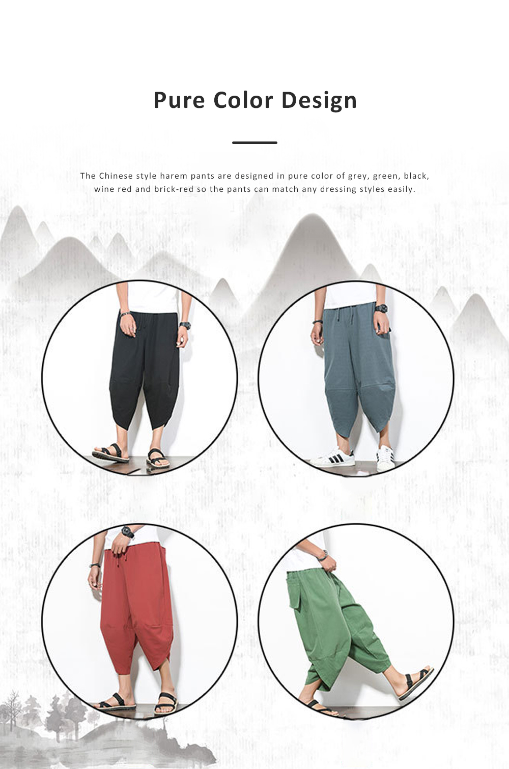 Mid-rise Loose Version Hip Pants Large Size Cropped Trousers for Men Wear Summer Casual Stylish Loose Pants 5
