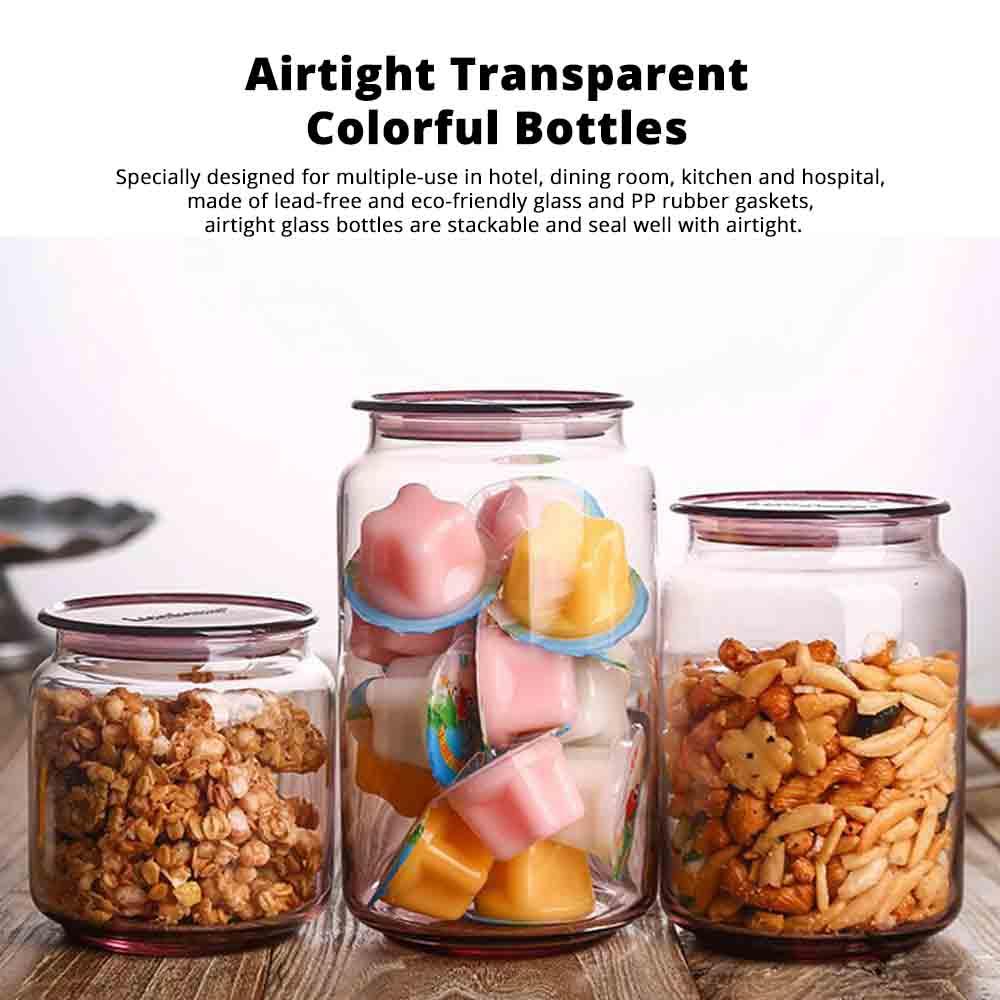 Airtight Glass Bottles Transparent Colorful Jars for Storage Tea, Dried Fruit Organizer, Universal Kitchen Storage 0