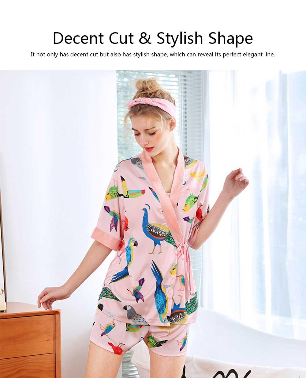 Beautiful Printing Pattern Japanese Kimono Pajamas Set, Women's Sexy Sling Shorts Tracksuit, Three-piece 1