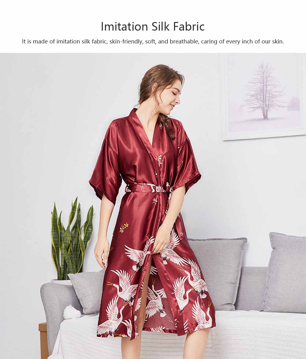 Long Sleeved Imitation Silk Fabric Sexy Bathrobe, Beautiful Printing Pattern  Ladies' Pajamas Women Sleepwear 1
