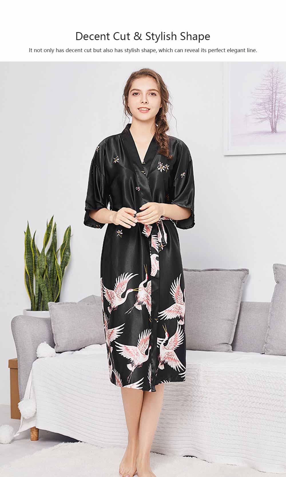 Long Sleeved Imitation Silk Fabric Sexy Bathrobe, Beautiful Printing Pattern  Ladies' Pajamas Women Sleepwear 4