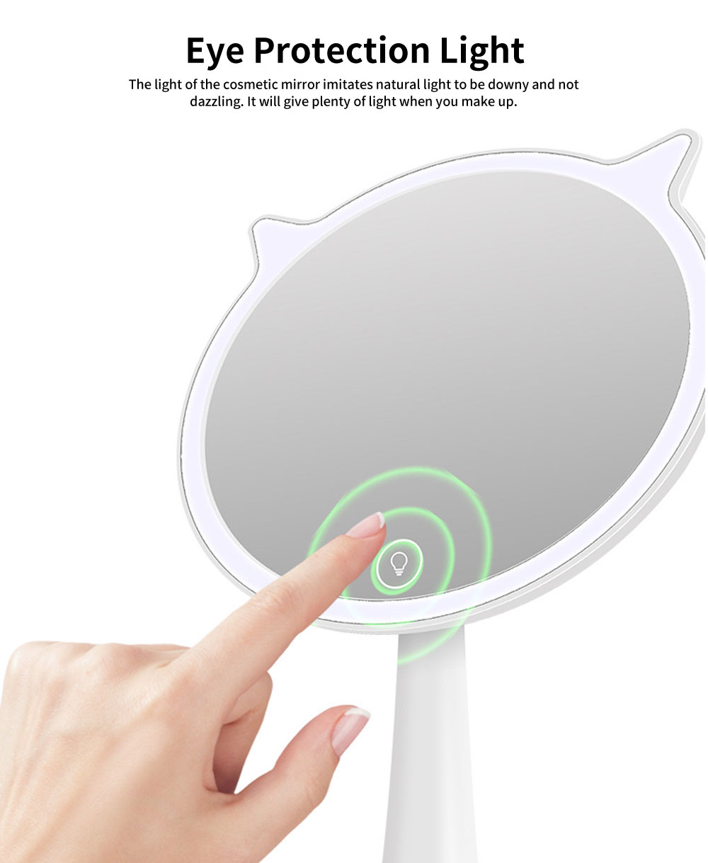 LED Makeup Mirror, Cat Cosmetic Mirror, Adjustable USB Charger Mirror, One-Sided Rectangle Mirror, Portable Desk Mirror for Make Up 2