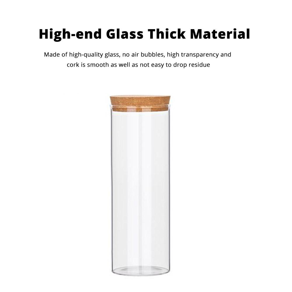 Glass Bottles Vials Jars Glass with Cork Stopper Storage Bottle Straight Tube Flowers Tea Can 1