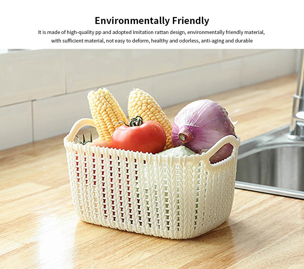 Plastic Coverless Rattan Storage Basket, Desktop Sundries Storage Box, Bathroom Cosmetics Storage Container 2