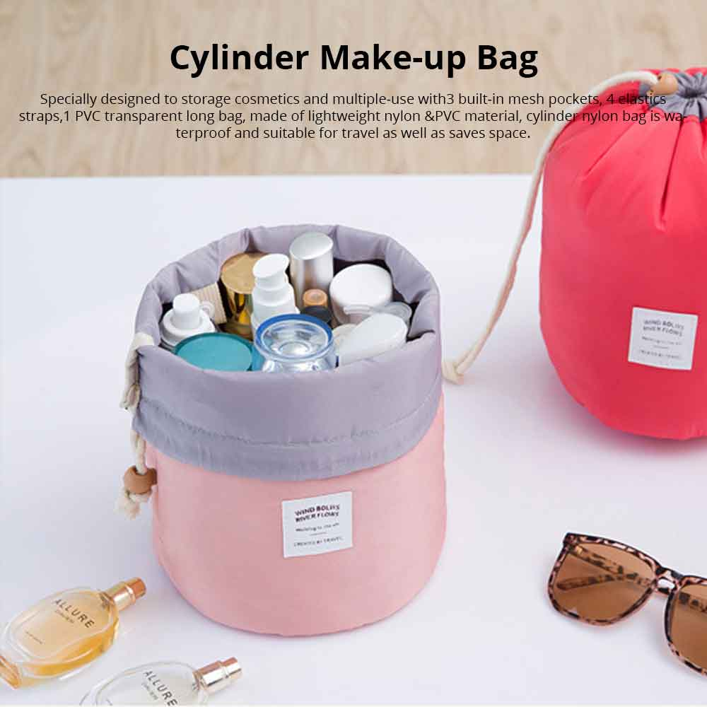 Cylinder Wash Make-up Bag, Large-capacity Girls Pull Rope Nylon Waterproof Travel Bag for Traveling Business Trip 0