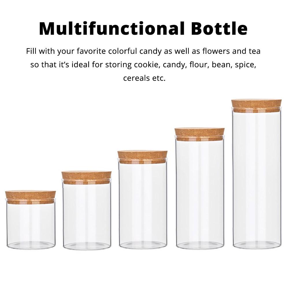 Glass Bottles Vials Jars Glass with Cork Stopper Storage Bottle Straight Tube Flowers Tea Can 2