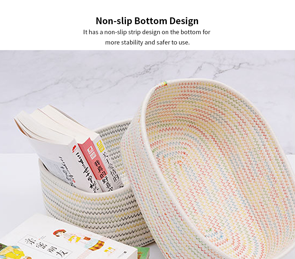 Simple Modern Small Fresh Colorful Rope Cotton Rope Fabric Storage Box, Desktop Sundries Storage Basket, Household Finishing Basket 3