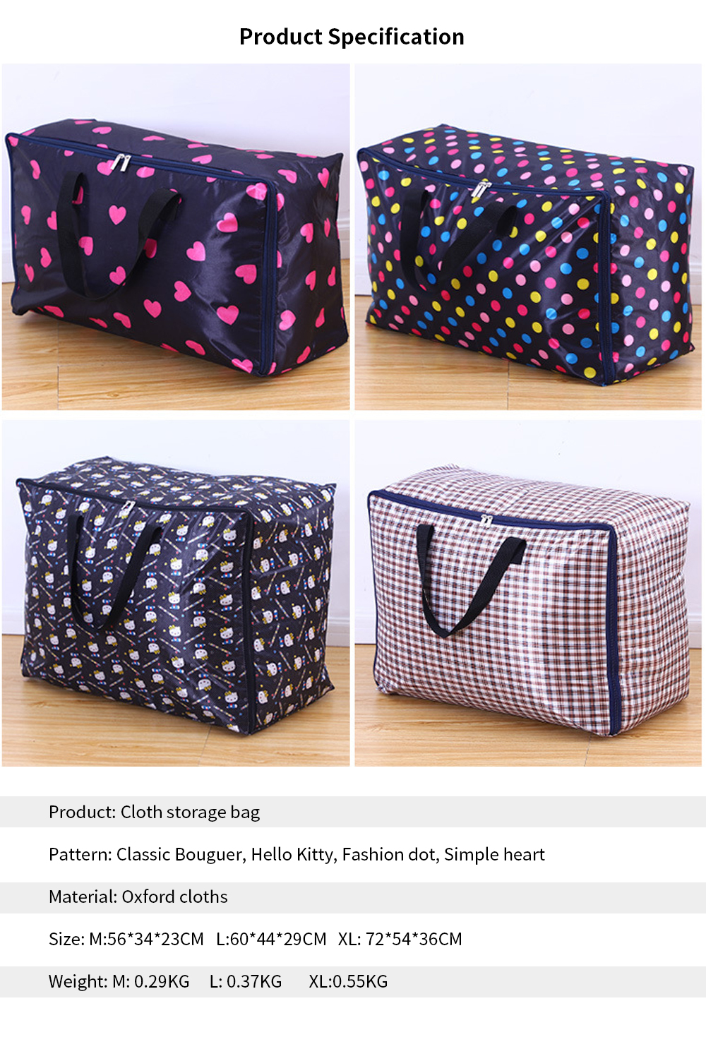 Oxford Moval Bag, Thicken Washable Quilt Storage Bag, Quilt and Clothes Oxford Cloth Storage Bag 5