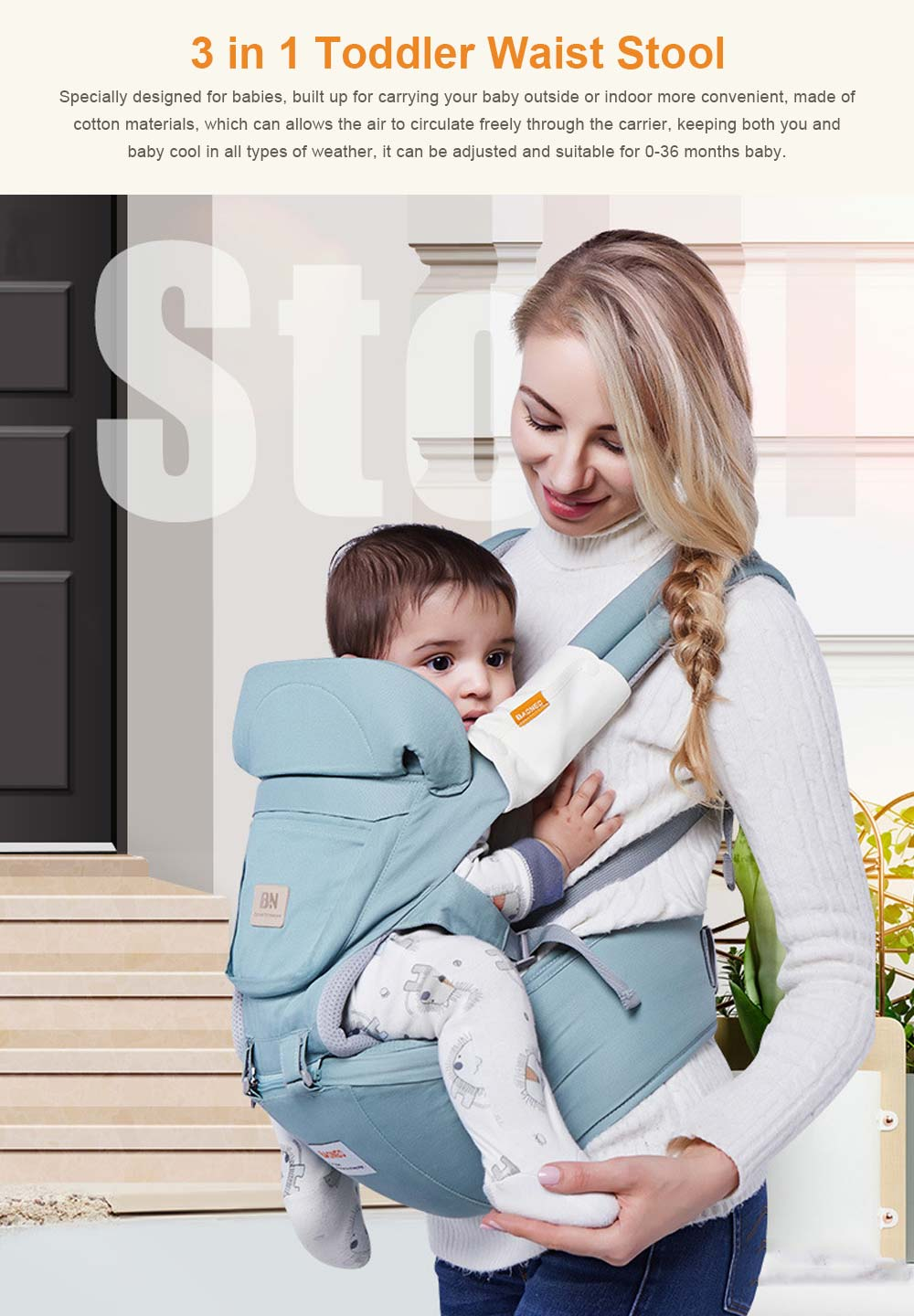 3 in 1 Toddler Waist Stool Baby Carrier, Multiple Functions Infant Breathable Child Stool Hold Infant and Toddler Product Suitable for All Seasons 0