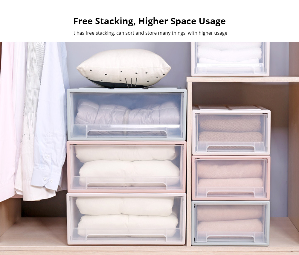 Plastic Drawer Storage Container, Storage Box, Combination Stackable Clothes Organizer, Transparent Clothing and Shoes Storage Cabinet 4