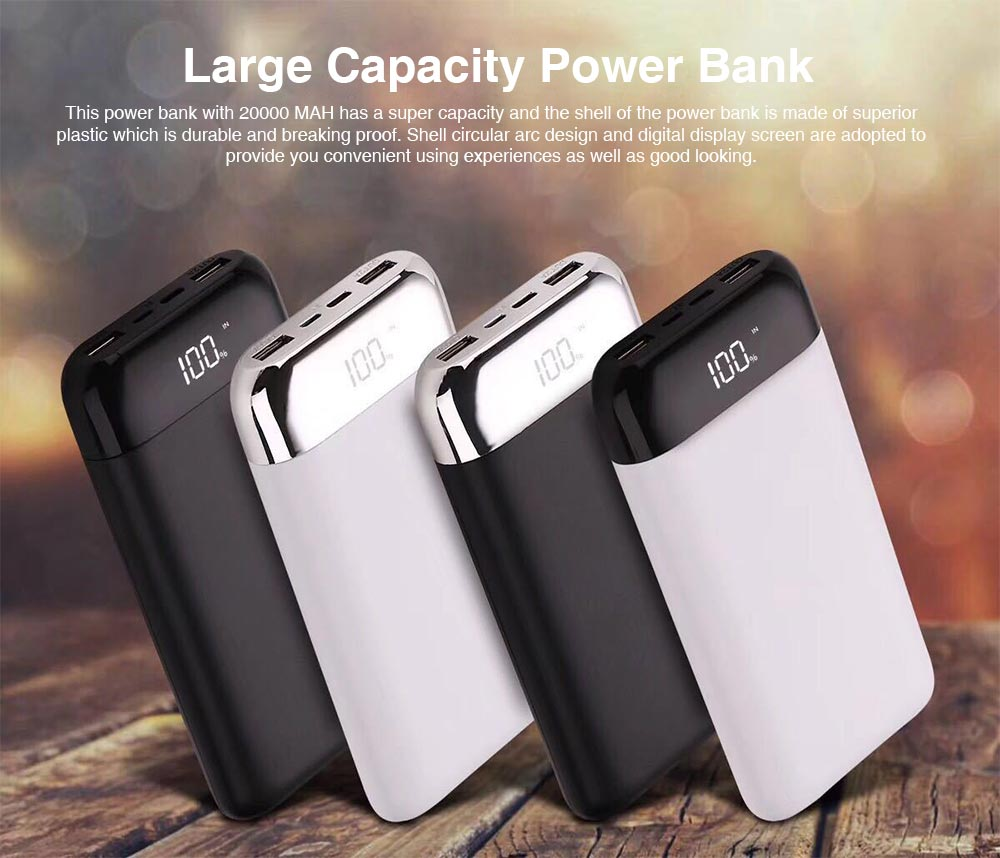 20000 MAH Large Capacity Power Bank, Minimalist Portable External Battery with Display Screen, Ultra High Capacity Power Bank for Cell Phone 0