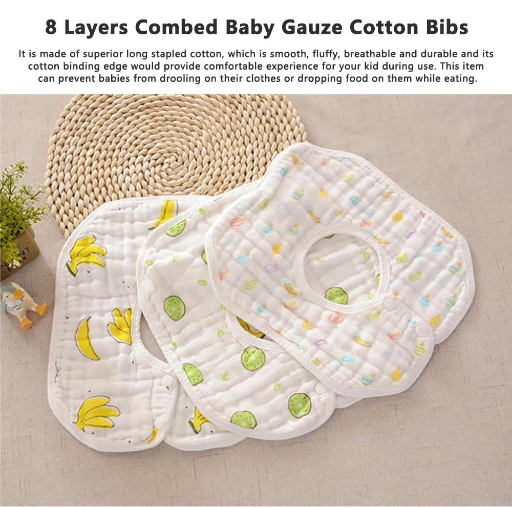 8 Layers Combed Baby Gauze Cotton Bibs, 360 Rotation Luxury Soft Cotton Bibs for Infants, Cartoon Print Newborn Babies Bibs 0