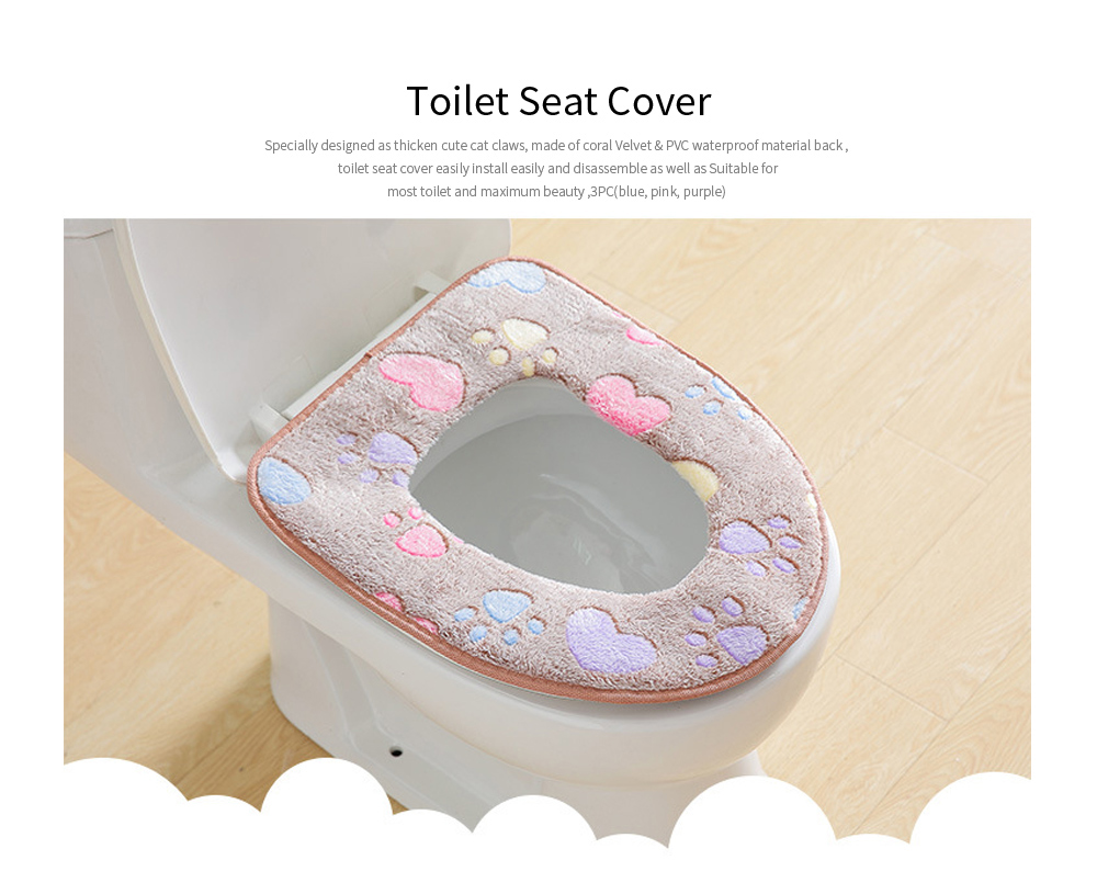Winter Warmer Thicken Sticky Fuzzy Cat Claws Toilet Seat Cover, Coral Velvet and PVC,Free stick Toilet Seat Cover Wholesale 0