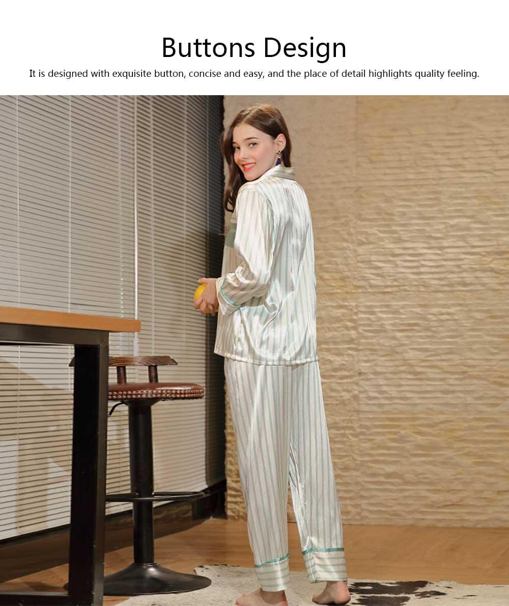Imitation Silk Fabric Long-sleeved Pajamas set, Classic Lapel Fashion Casual Striped Tracksuit, Spring and Autumn 2019 2
