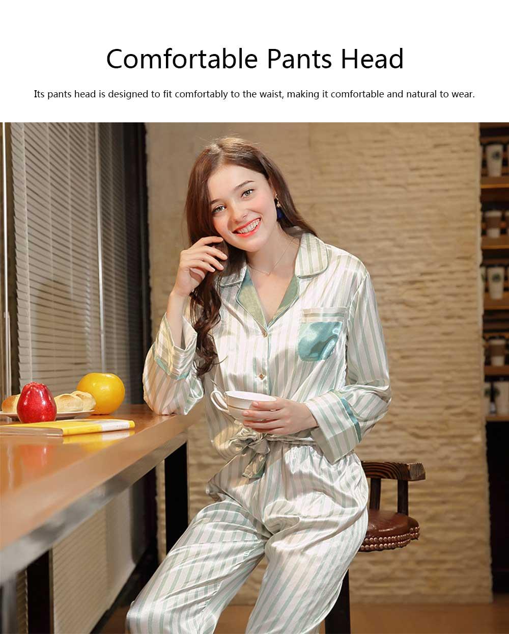 Imitation Silk Fabric Long-sleeved Pajamas set, Classic Lapel Fashion Casual Striped Tracksuit, Spring and Autumn 2019 3