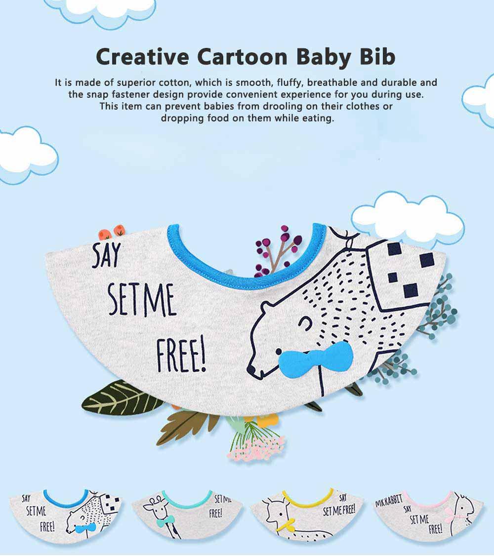 Creative Cartoon Baby Bib, 360 Degrees Rotation Burp Bibs for New Born Infants, Baby Feeding Head Scarf Towel with Convenient Snap Fastener 0