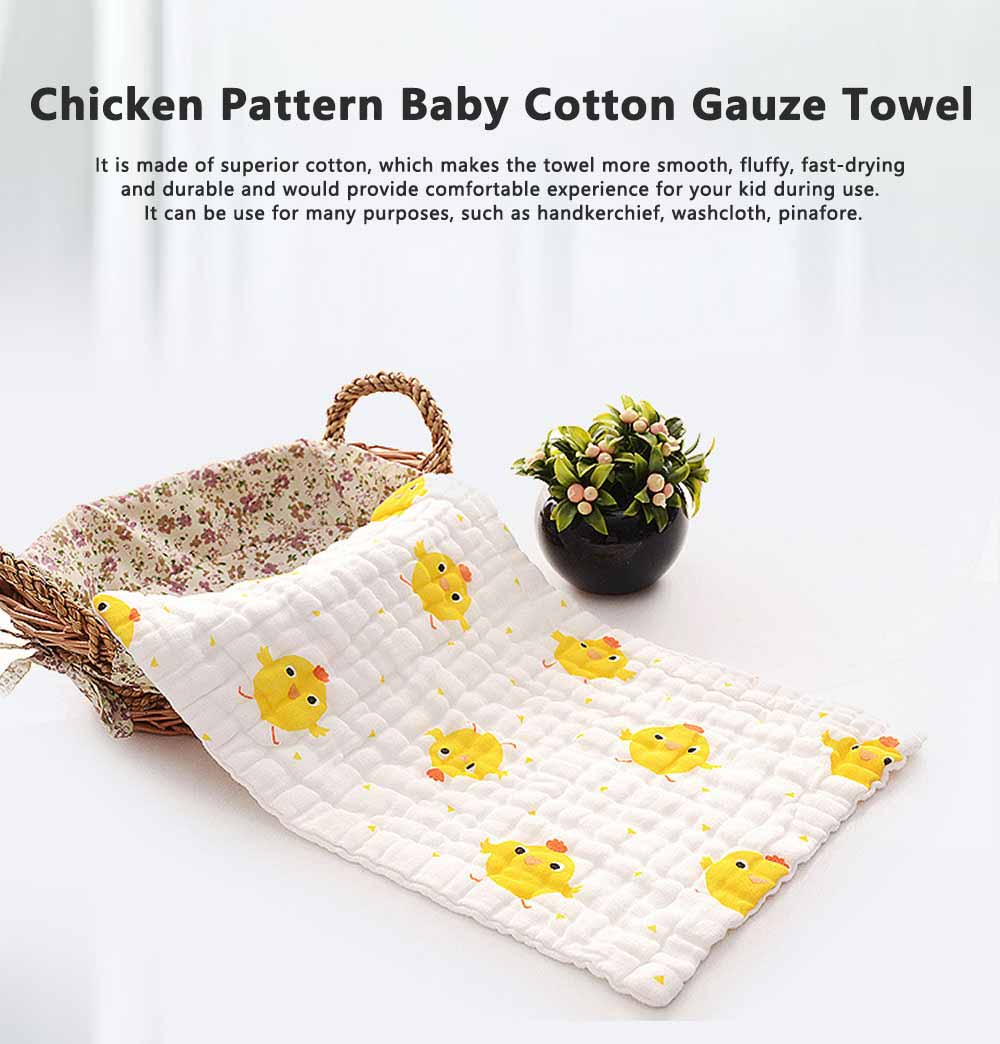 Chicken Pattern Baby Cotton Gauze Towel, Comfortable Cute Infant Face Towel, Soft Burp Cloth for New Born Baby 0