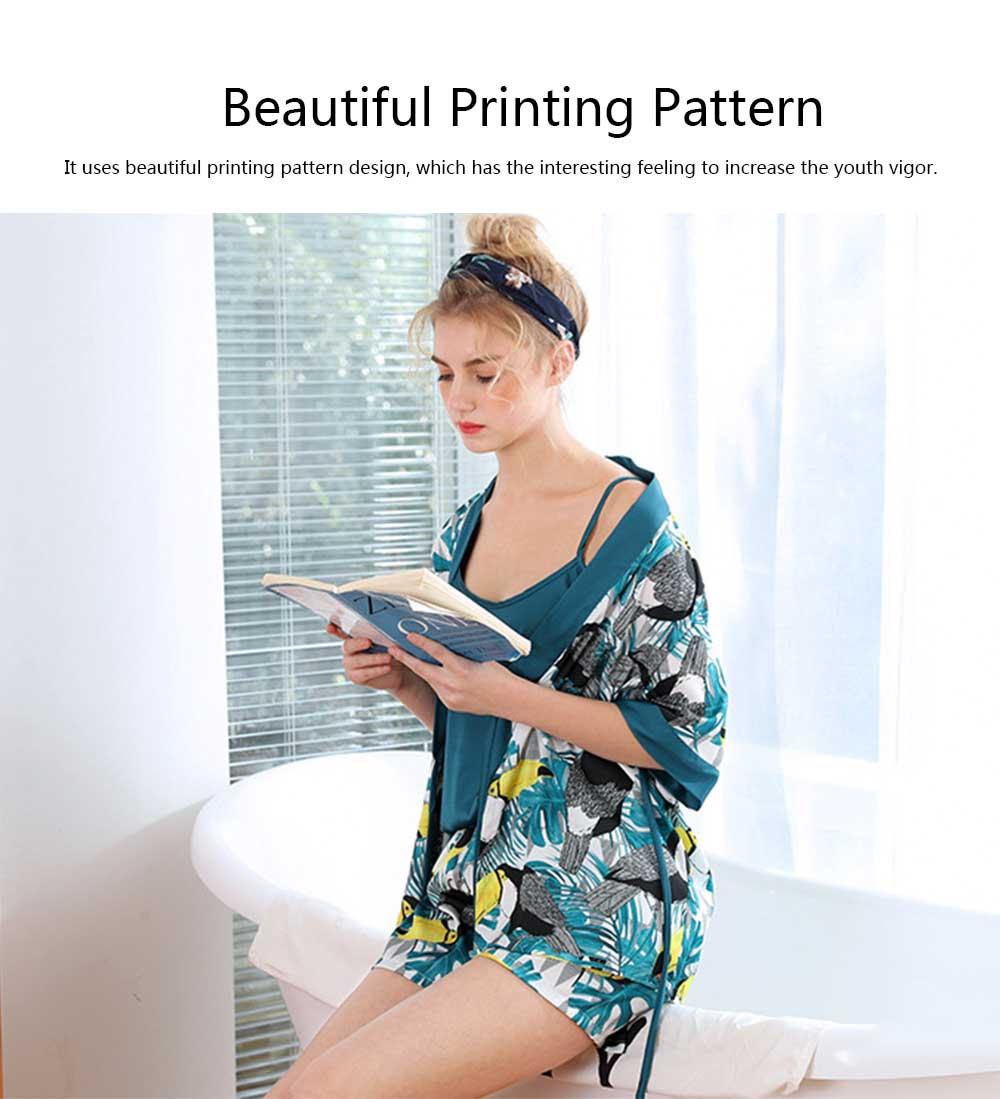 Beautiful Printing Pattern Japanese Kimono Pajamas Set, Women's Sexy Sling Shorts Tracksuit, Three-piece 2