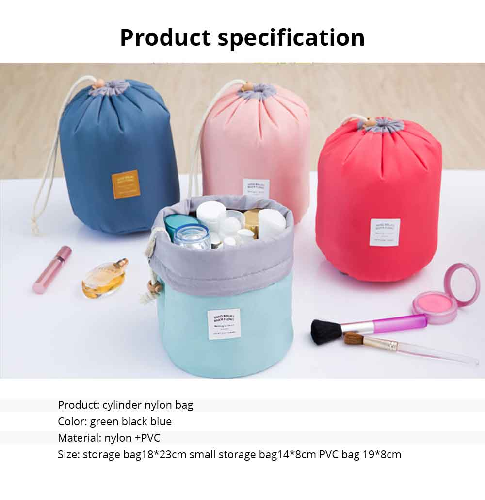 Cylinder Wash Make-up Bag, Large-capacity Girls Pull Rope Nylon Waterproof Travel Bag for Traveling Business Trip 6
