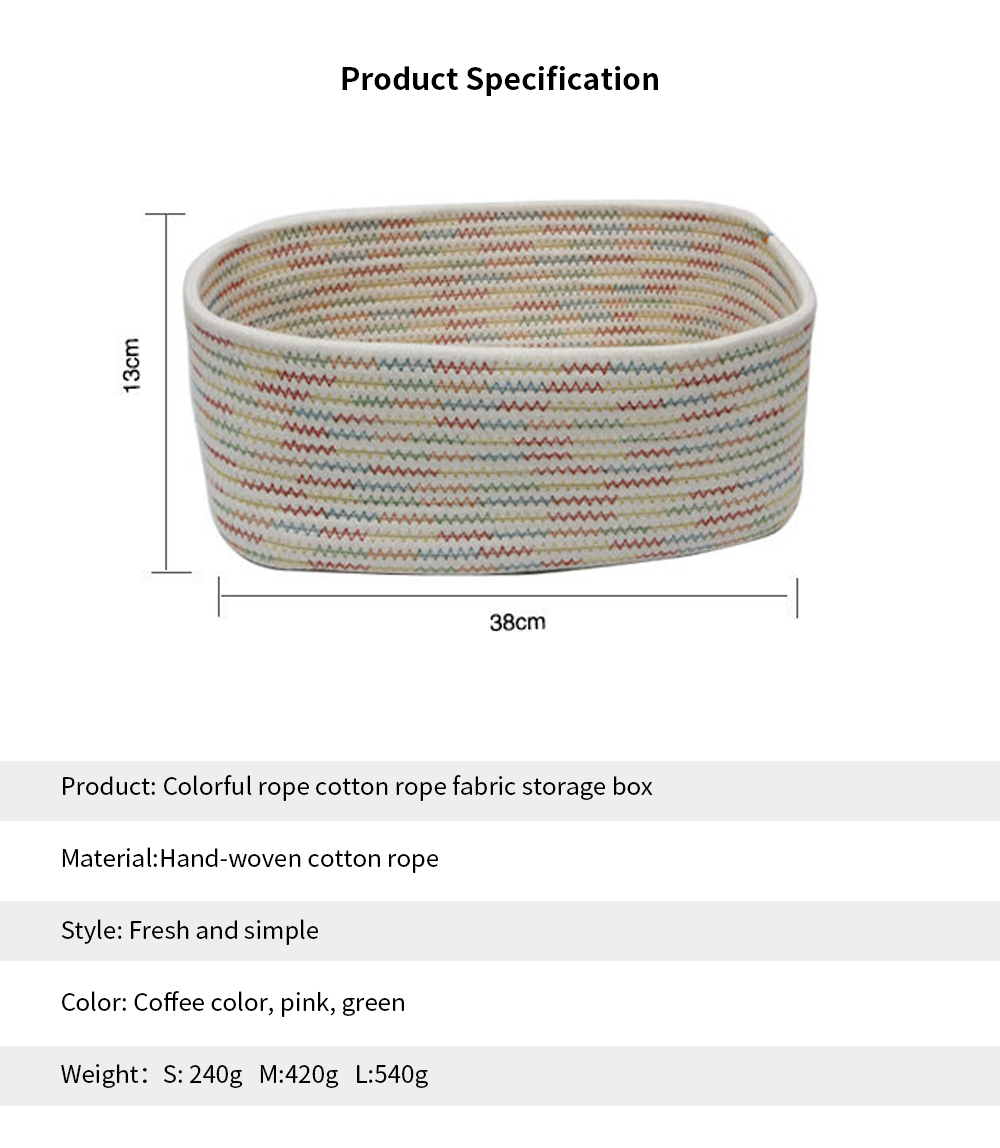 Simple Modern Small Fresh Colorful Rope Cotton Rope Fabric Storage Box, Desktop Sundries Storage Basket, Household Finishing Basket 5