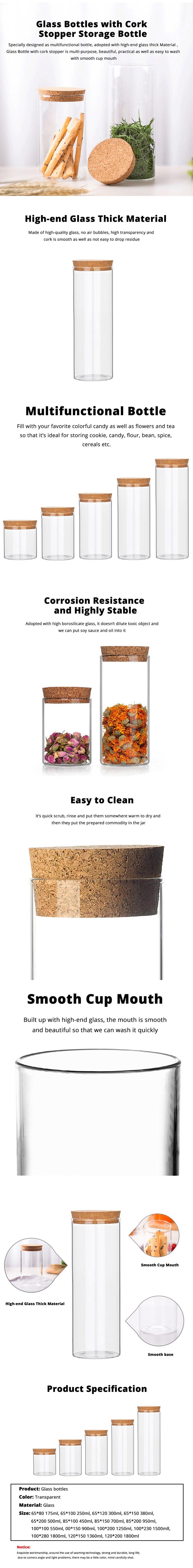 Glass Bottles Vials Jars Glass with Cork Stopper Storage Bottle Straight Tube Flowers Tea Can 8
