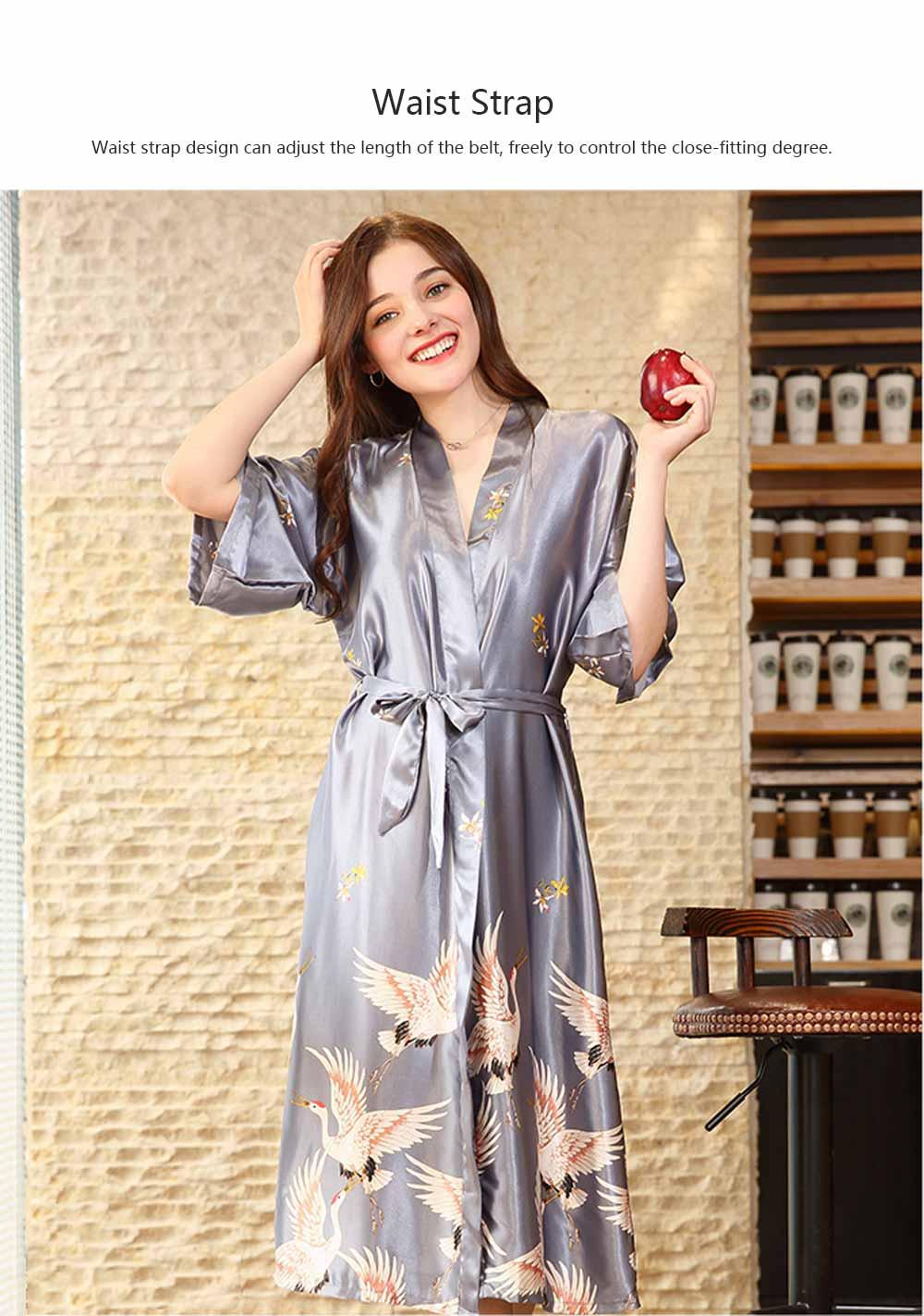 Long Sleeved Imitation Silk Fabric Sexy Bathrobe, Beautiful Printing Pattern  Ladies' Pajamas Women Sleepwear 5