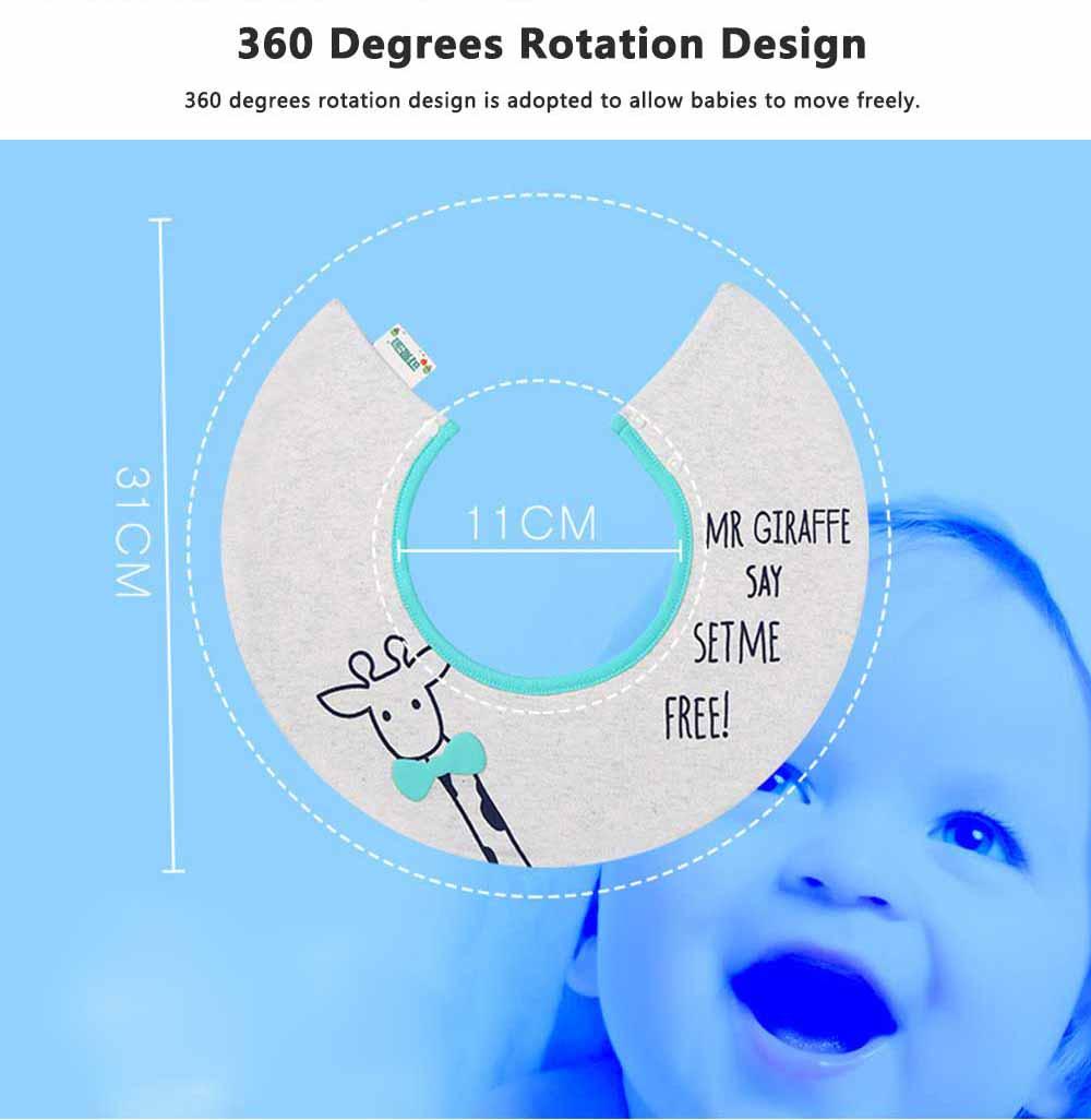 Creative Cartoon Baby Bib, 360 Degrees Rotation Burp Bibs for New Born Infants, Baby Feeding Head Scarf Towel with Convenient Snap Fastener 2