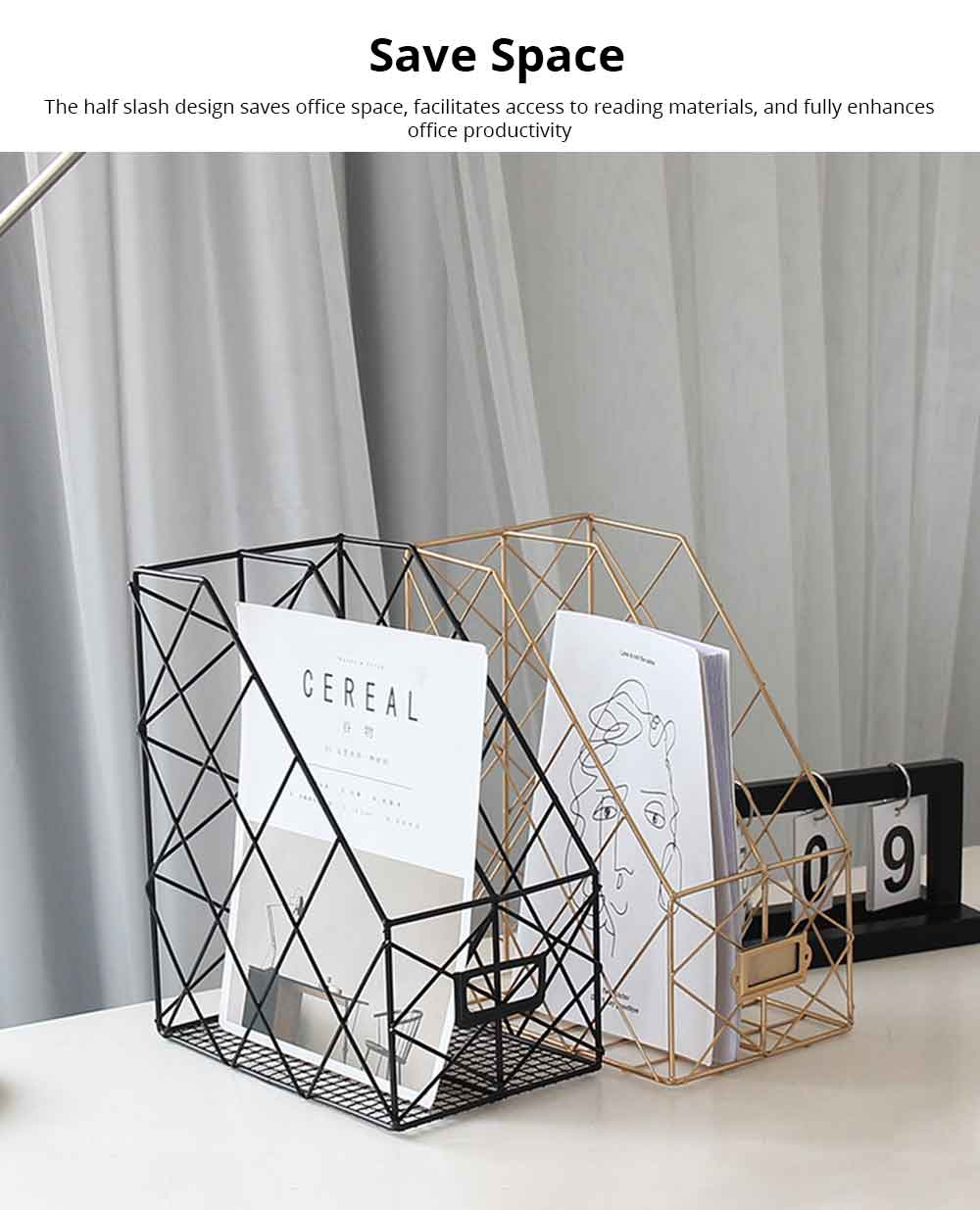 Metal File Holder, Durable Grids Desktop Hollow Storage Rack for Magazines Journal Newspapers Books 5