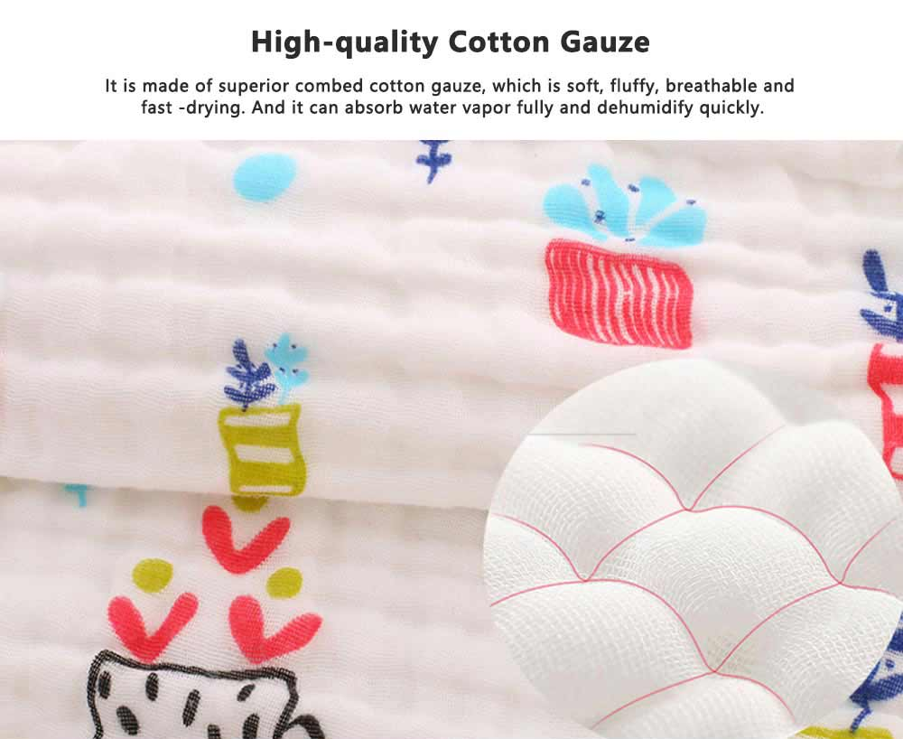 8 Layers Combed Baby Gauze Cotton Bibs, 360 Rotation Luxury Soft Cotton Bibs for Infants, Cartoon Print Newborn Babies Bibs 1
