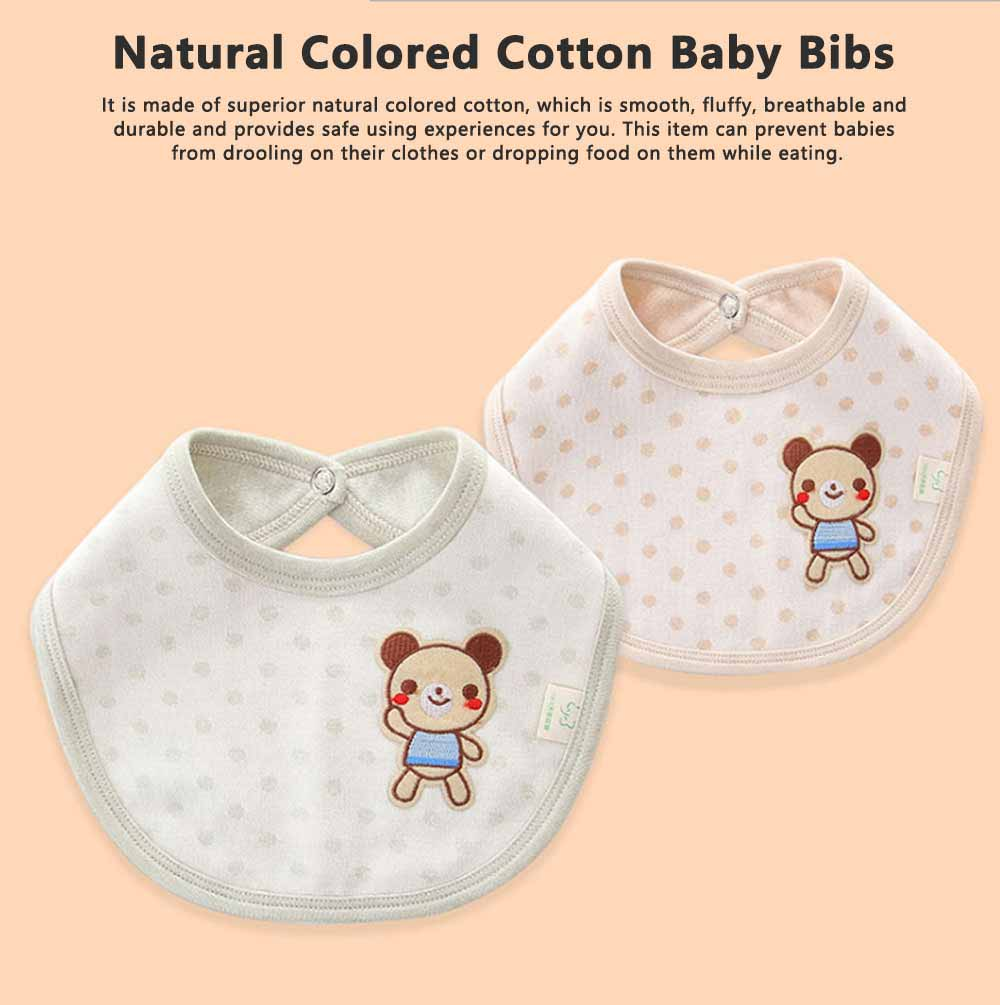 Natural Colored Cotton Baby Bibs, Luxury Smooth Bibs for New Born Infants, Creative Pinafore with A Little Bear Pattern 0