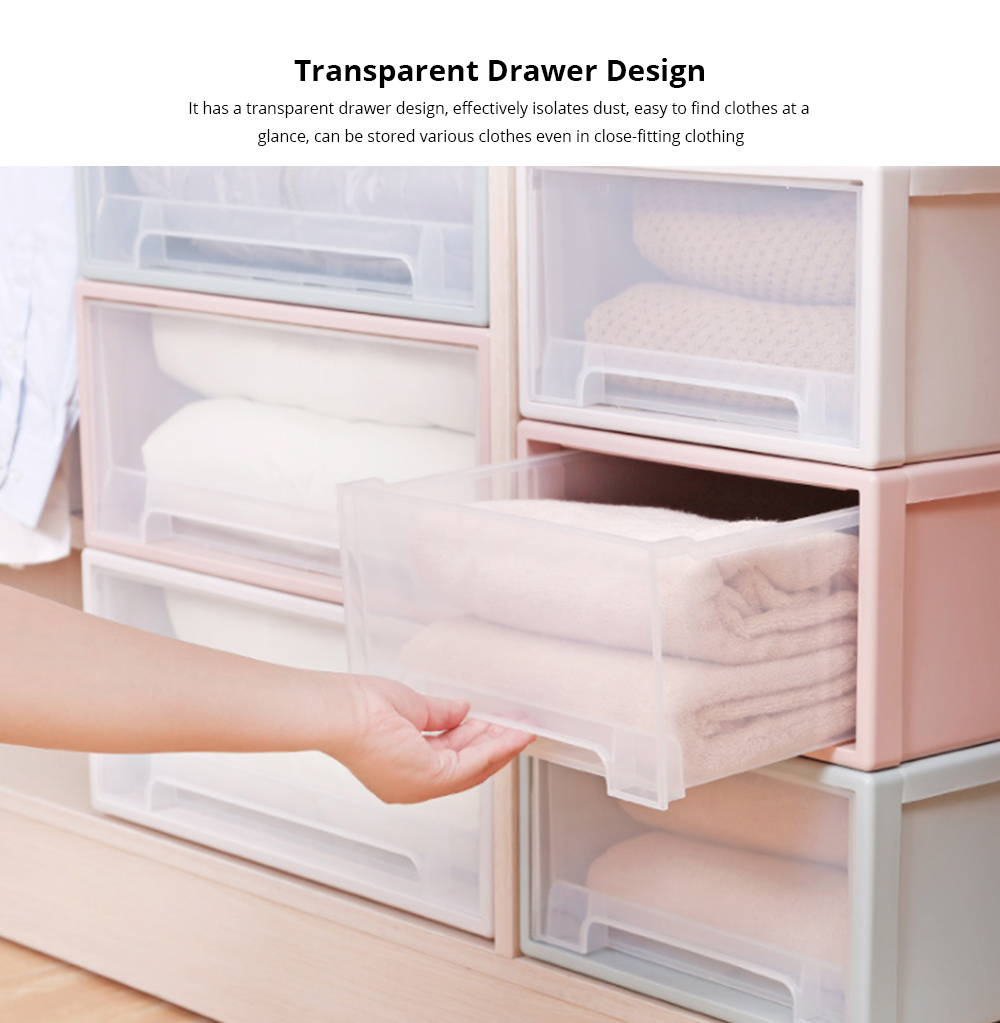 Plastic Drawer Storage Container, Storage Box, Combination Stackable Clothes Organizer, Transparent Clothing and Shoes Storage Cabinet 1
