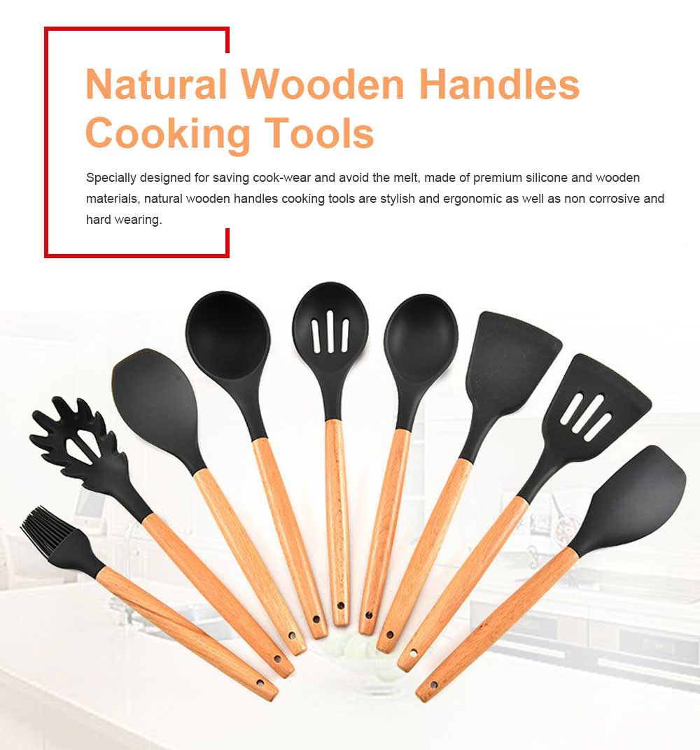 Natural Wooden Handles Cooking Tools Turner Tongs Spatula Spoon for Nonstick Cookware 0