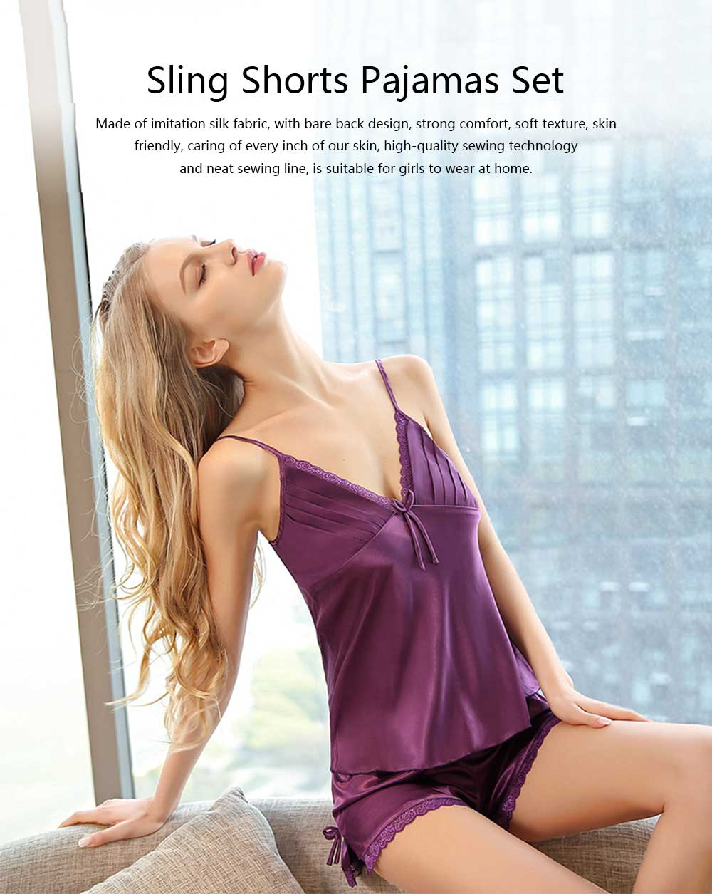 New Ladies Sexy Bare Back Imitation Silk Fabric Nightdress, V-neck Sling Shorts Pajamas Set 0