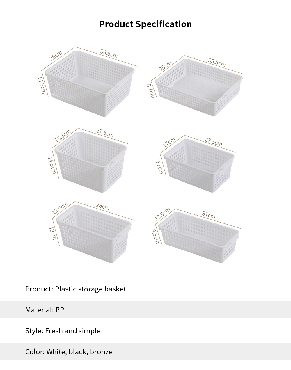 Plastic Storage Basket, Hollow Large Children's Toy Storage Basket, Kitchen Vegetable Storage Basket, wholesale 6
