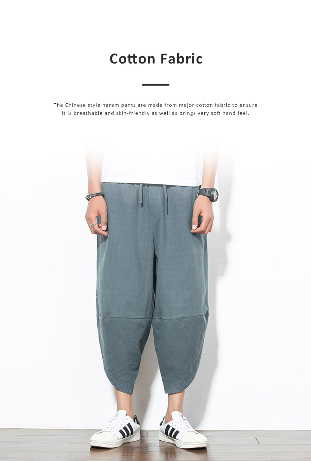 Mid-rise Loose Version Hip Pants Large Size Cropped Trousers for Men Wear Summer Casual Stylish Loose Pants 3