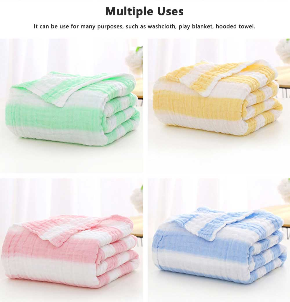 6 Layers Gauze Cotton Baby Bath Towel, Soft Smooth Baby Blanket Used in Summer, Sleeping Warp Blanket for Infants 5
