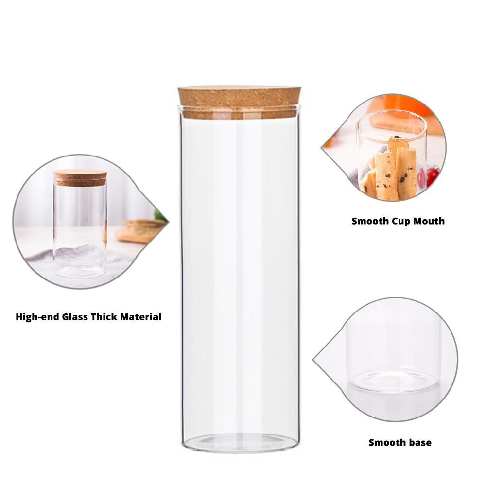 Glass Bottles Vials Jars Glass with Cork Stopper Storage Bottle Straight Tube Flowers Tea Can 6