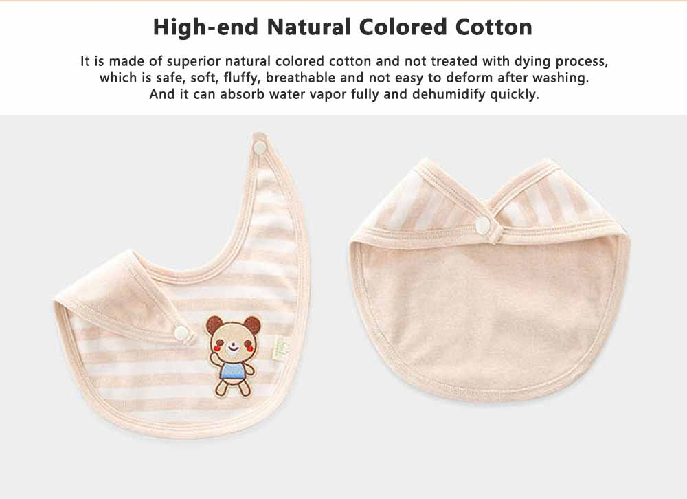 Natural Colored Cotton Baby Bibs, Luxury Smooth Bibs for New Born Infants, Creative Pinafore with A Little Bear Pattern 1
