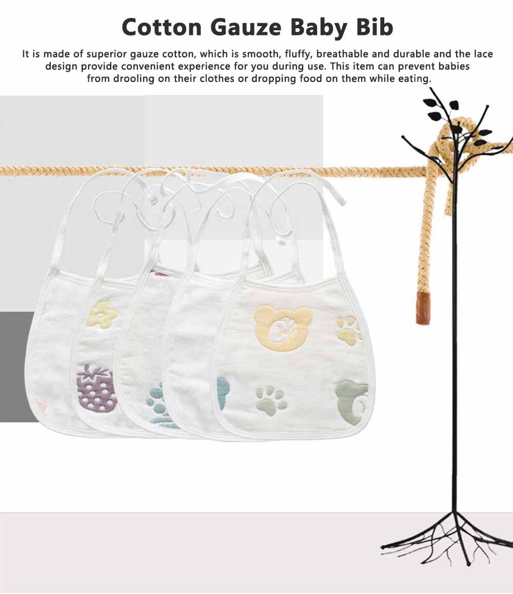 Cartoon Printing Cotton Gauze Baby Bib, Boys Girls Feeding Burp Cloths, Comfortable Newborn Infants Scarf Towel with Lace 0