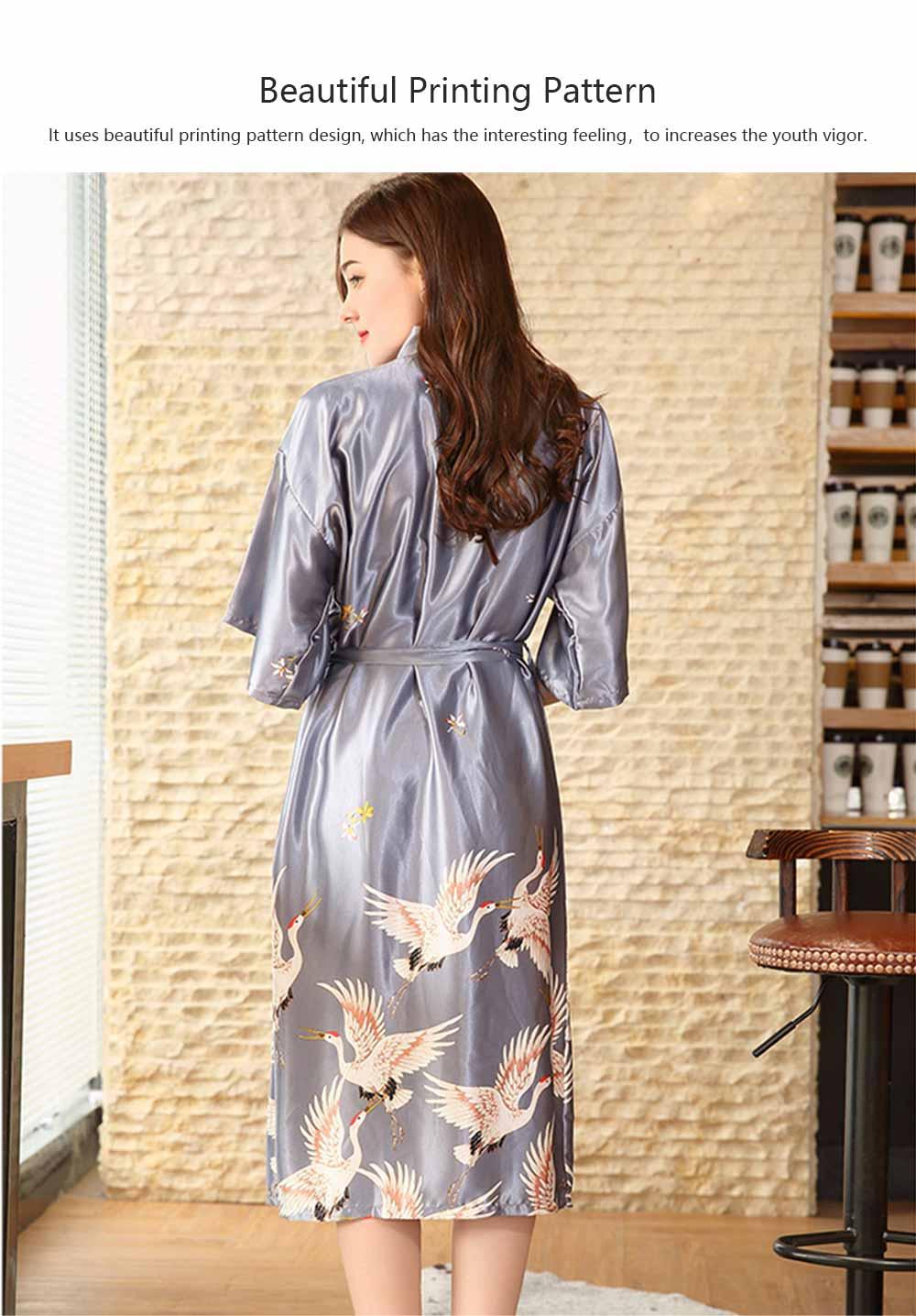 Long Sleeved Imitation Silk Fabric Sexy Bathrobe, Beautiful Printing Pattern  Ladies' Pajamas Women Sleepwear 2