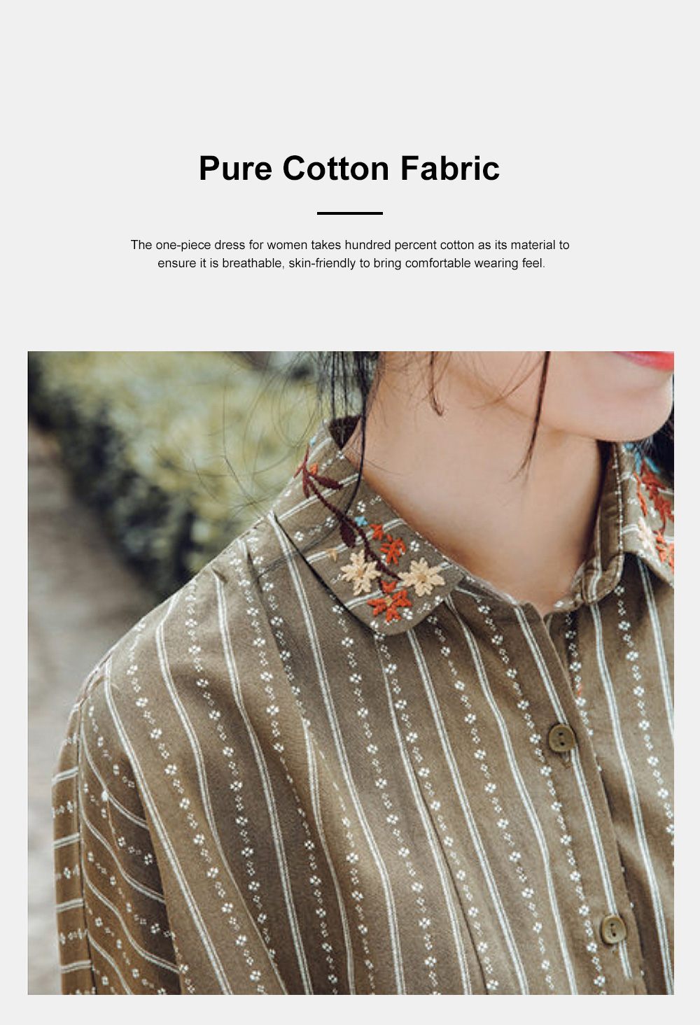 Stripe One-piece Long Dress Retro Arty Long Dust Coat for Women Pure Cotton Loose One-piece Dress Polo Collar Dress 5