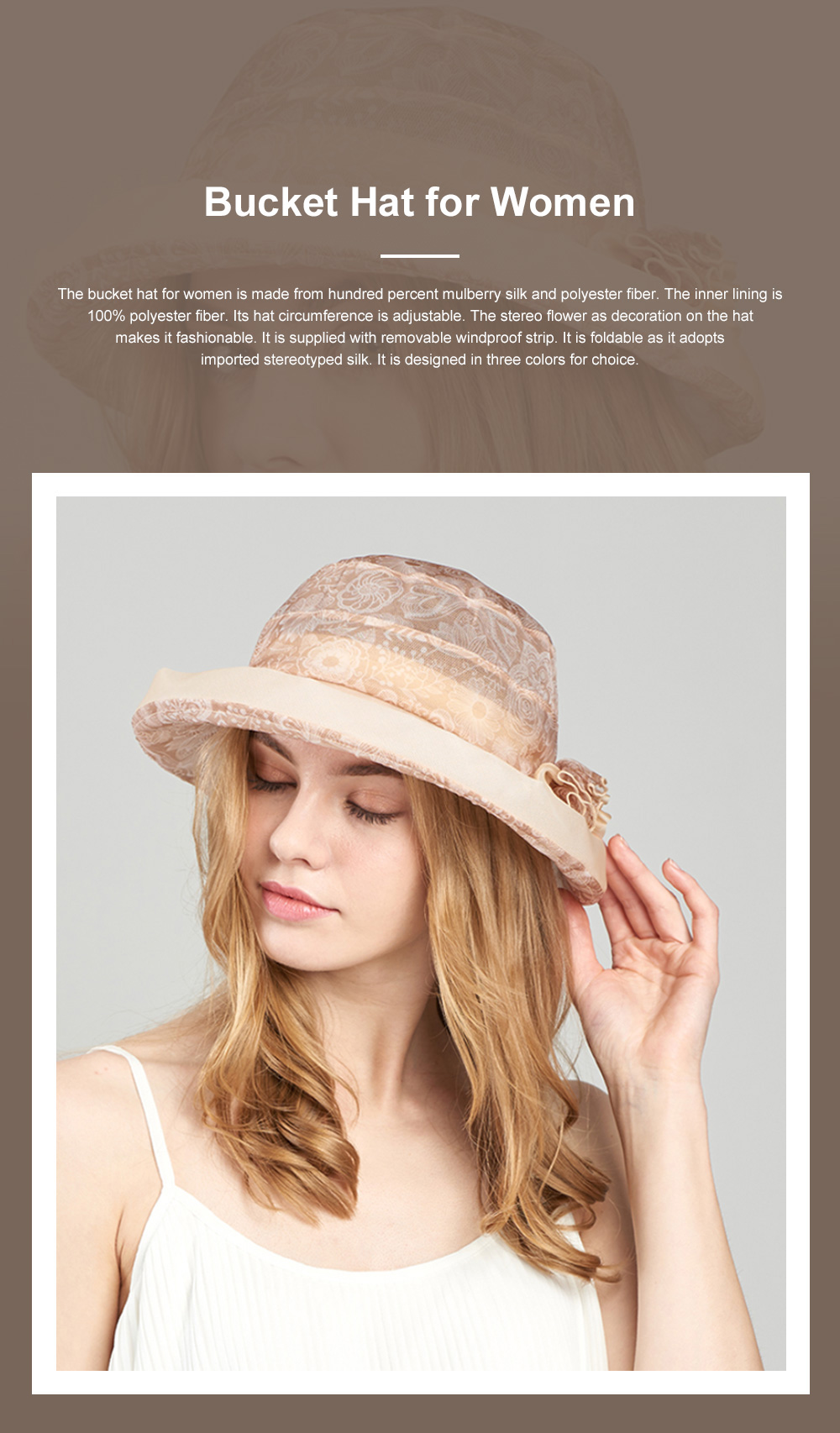Foldable Bucket Hat for Outdoors Summer Travelling Beach Real Silk Sunscreen Bonnet All-match Windproof Large Brim Bucket Hat 0