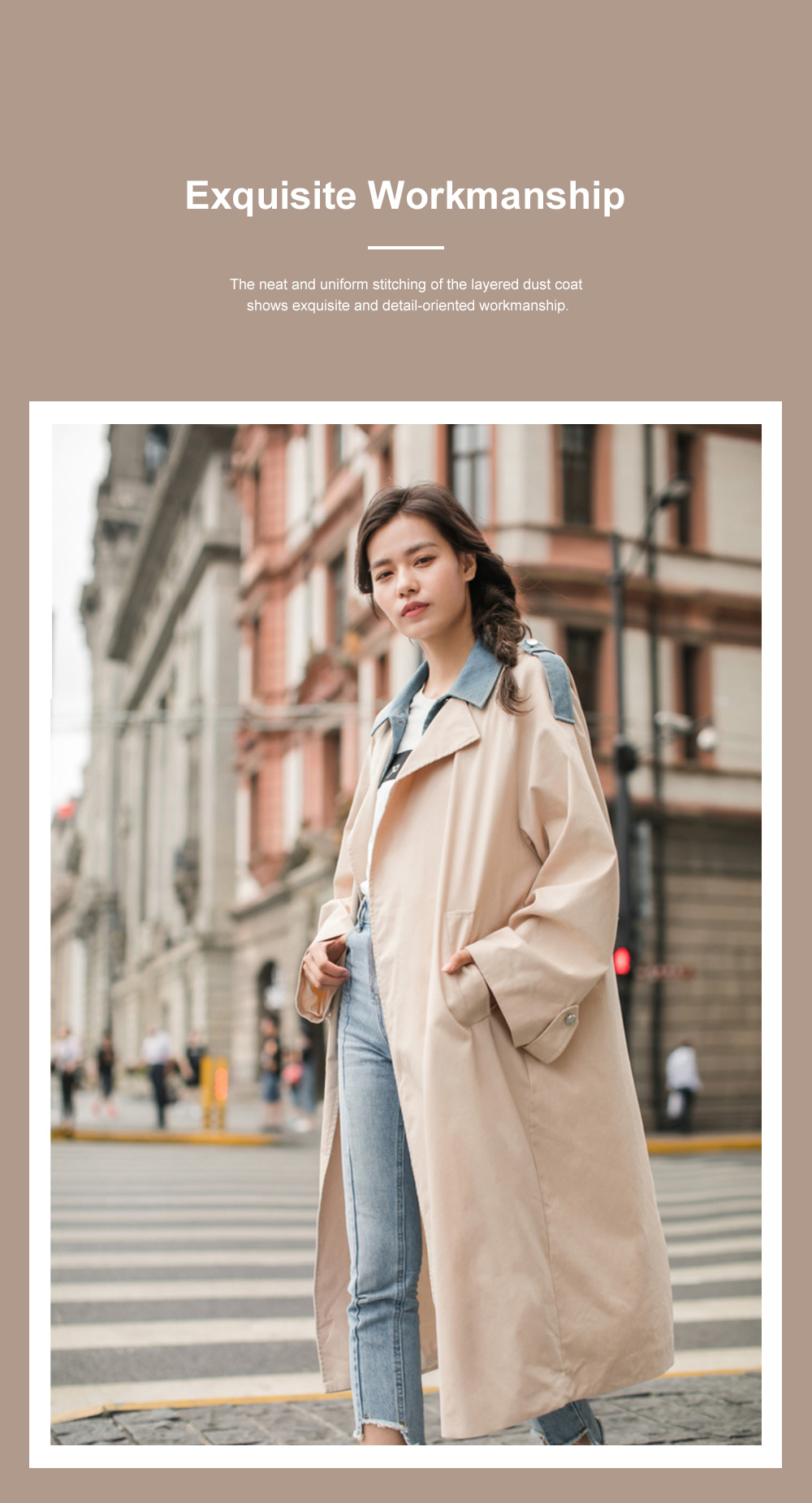 Light Apricot Layered Dust Coat British Style Straight Wind Coat for Women Contrast Colored Chic Turndown Straight Windbreaker 2
