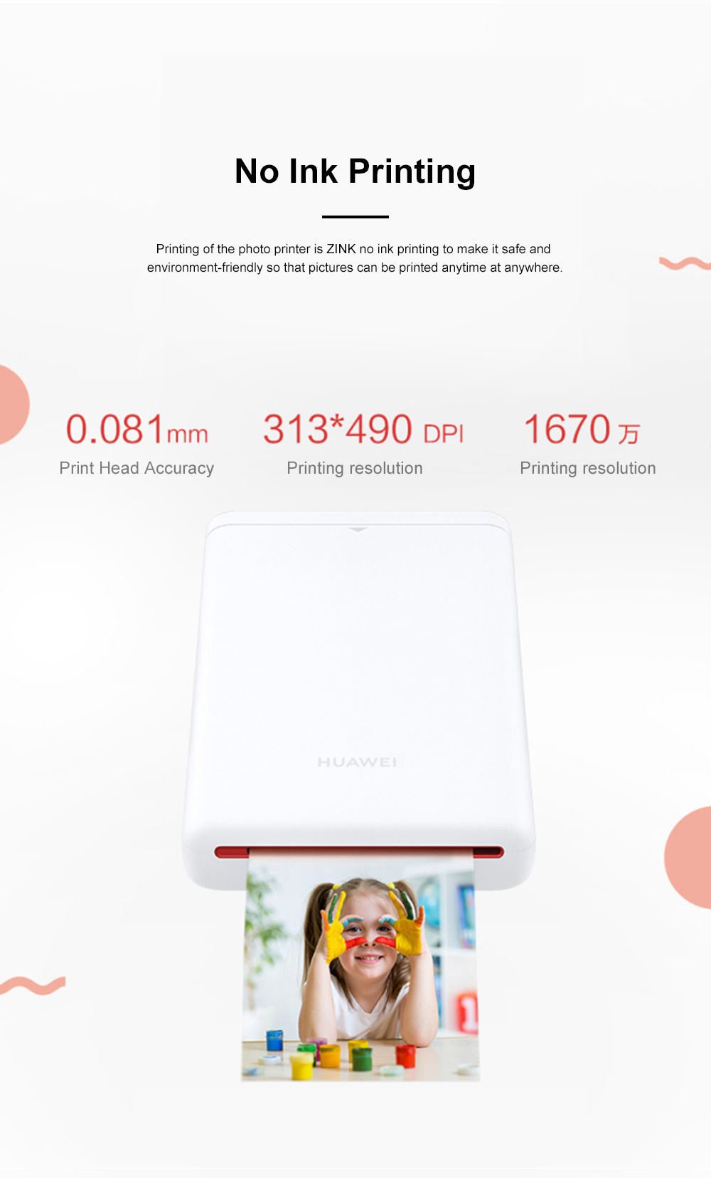 Huawei Portable Bluetooth Photo Printer for Outdoors Picture Printing Mini Instant Camera Photographic Paper Easy Carry Photo Printing Paper 1