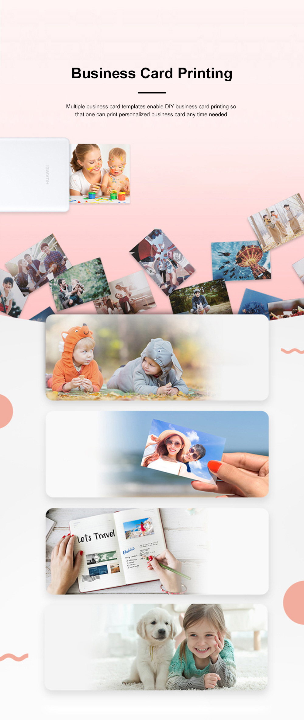 Huawei Portable Bluetooth Photo Printer for Outdoors Picture Printing Mini Instant Camera Photographic Paper Easy Carry Photo Printing Paper 4